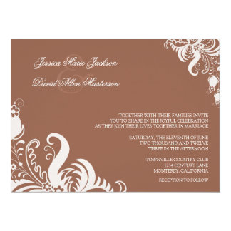 Russet Brown Floral Accent Wedding Invitation