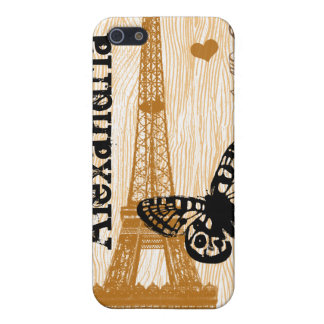 Russet Eiffel Tower Orange Woodgrain iPhone Cover