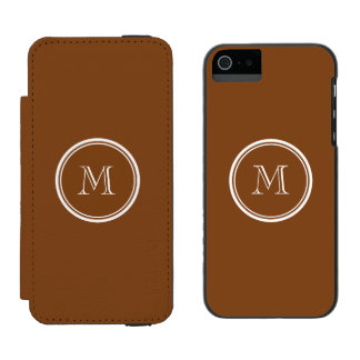 Russet High End Colored Personalized Wallet Case For iPhone SE/5/5s