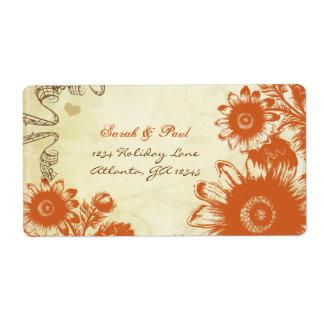 Russet Orange Vintage Flower Return Address Label