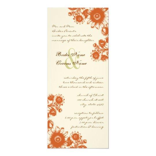 Russet Orange Vintage Flower Wedding Invitation