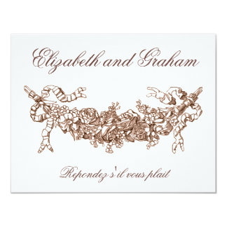 Russet Swag Wedding RSVP French Style Card