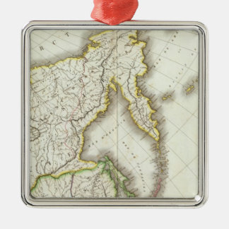 Russia and Asia Engraved Map Metal Ornament