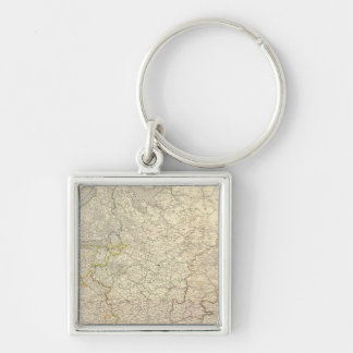 Russia and Europe 5 Silver-Colored Square Keychain