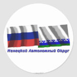 Russia and Nenets Autonomous Okrug Round Sticker