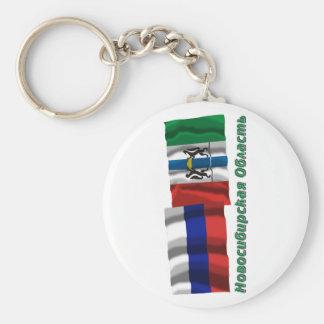 Russia and Novosibirsk Oblast Basic Round Button Keychain