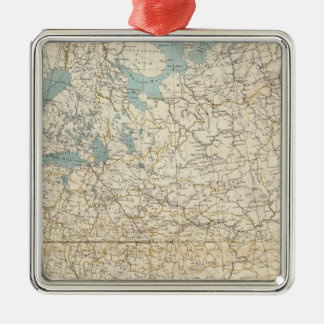 Russia and Poland Atlas Map Square Metal Christmas Ornament