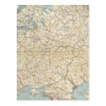 Russia and Poland Atlas Map Postcard