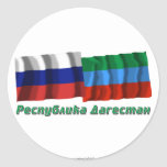 Russia and Republic of Dagestan Round Stickers