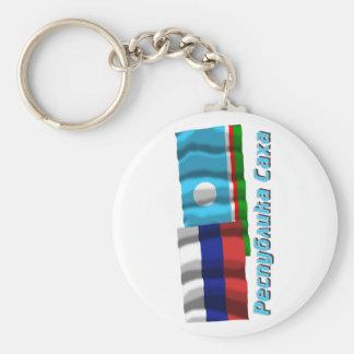 Russia and Sakha Republic Basic Round Button Keychain