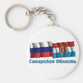 Russia and Samara Oblast Basic Round Button Keychain
