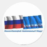 Russia and Yamalo-Nenets Autonomous Okrug Round Stickers
