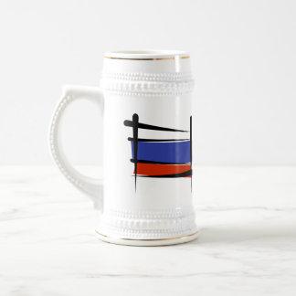 Russia Brush Flag Beer Stein