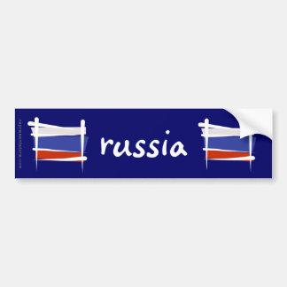 Russia Brush Flag Bumper Stickers