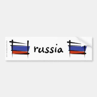 Russia Brush Flag Car Bumper Sticker