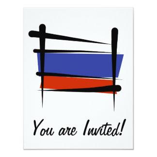 Russia Brush Flag Card