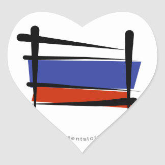 Russia Brush Flag Heart Sticker