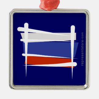 Russia Brush Flag Metal Ornament