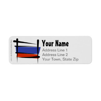 Russia Brush Flag Return Address Label