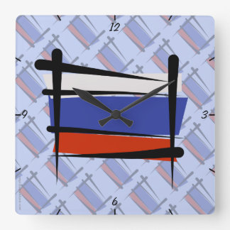 Russia Brush Flag Square Wall Clock