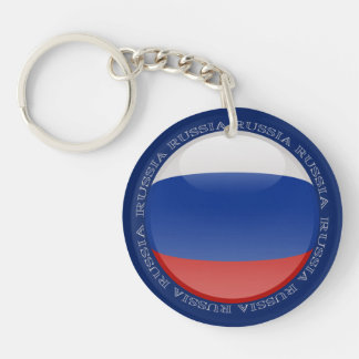 Russia Bubble Flag Double-Sided Round Acrylic Keychain