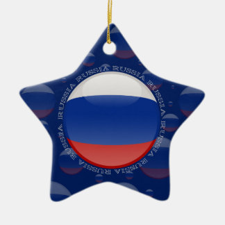 Russia Bubble Flag Double-Sided Star Ceramic Christmas Ornament