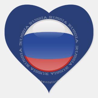 Russia Bubble Flag Heart Sticker