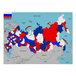 russia country political map flag poster