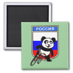 Russia Cycling Panda 2 Inch Square Magnet