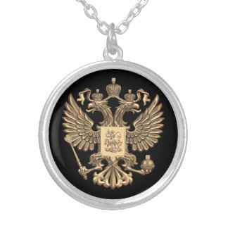 Russia double eagle silver plated necklace