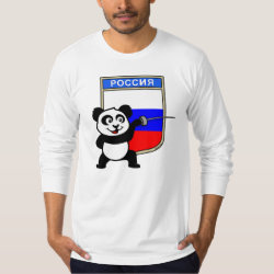 Men's American Apparel Fine Jersey Long Sleeve T-Shirt with Russian Fencing Panda design