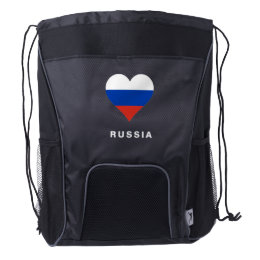 Russia Flag Drawstring Backpack