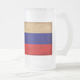 Russia Flag Frosted Glass Beer Mug