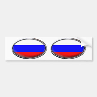 Russia Flag Glass Oval Bumper Sticker