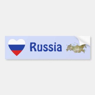 Russia Flag Heart + Map Bumper Sticker Car Bumper Sticker