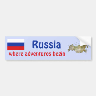 Russia Flag + Map Bumper Sticker