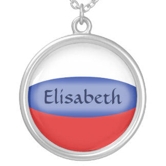 Russia Flag + Name Necklace