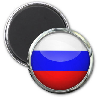 Russia Flag Round Glass Ball Magnet