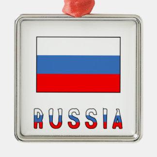 Russia Flag & Word Metal Ornament