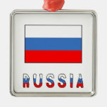 Russia Flag & Word Ornament