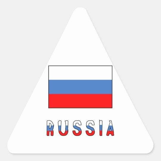 Russia Flag & Word Triangle Sticker