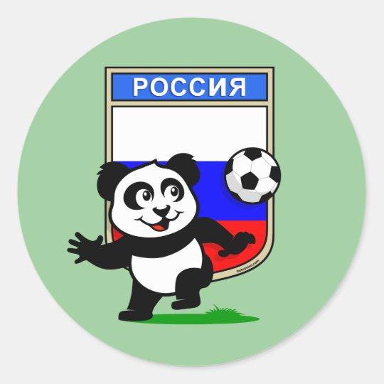 Russia Football Panda Classic Round Sticker
