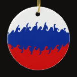 Russia Gnarly Flag Ceramic Ornament