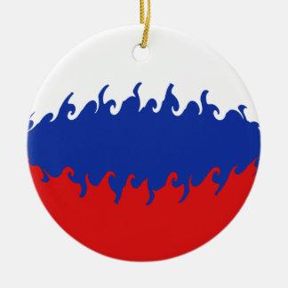 Russia Gnarly Flag Ceramic Ornament