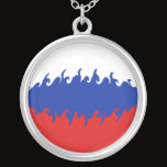 Russia Gnarly Flag Silver Plated Necklace