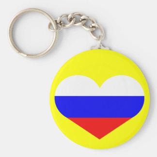 Russia heart basic round button keychain