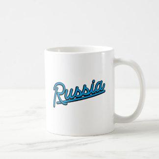 Russia in cyan coffee mug