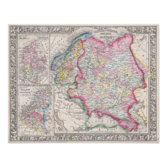 Russia in Europe, Sweden and Norway. - Map of Denm Poster