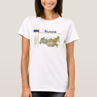 Russia Map + Flag + Title T-Shirt