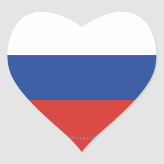Russia Plain Flag Heart Sticker